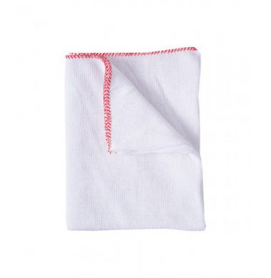White Stockinette Dishcloth with Red Edge x 10 cloths