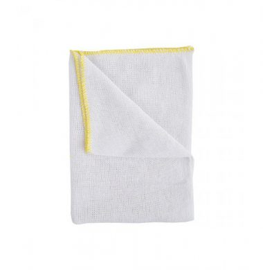 White Stockinette Dishcloth with Yellow Edge x 10 cloths