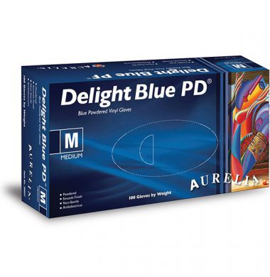 Blue Lightly Powdered Vinyl Gloves – Aurelia Delight (Box of 100)