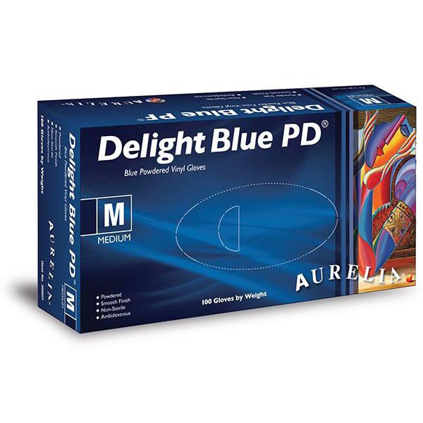 Aurelia Delight Blue Lightly Powdered Vinyl Gloves