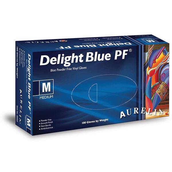 Aurelia Delight Blue Powder Free Vinyl Gloves
