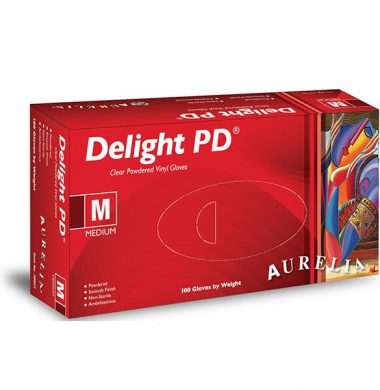 Clear Lightly Powdered Vinyl Gloves – Aurelia Delight (Box of 100)