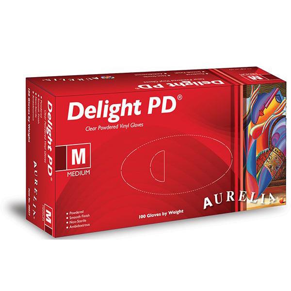 Aurelia Delight Clear Lightly Powdered Vinyl Gloves