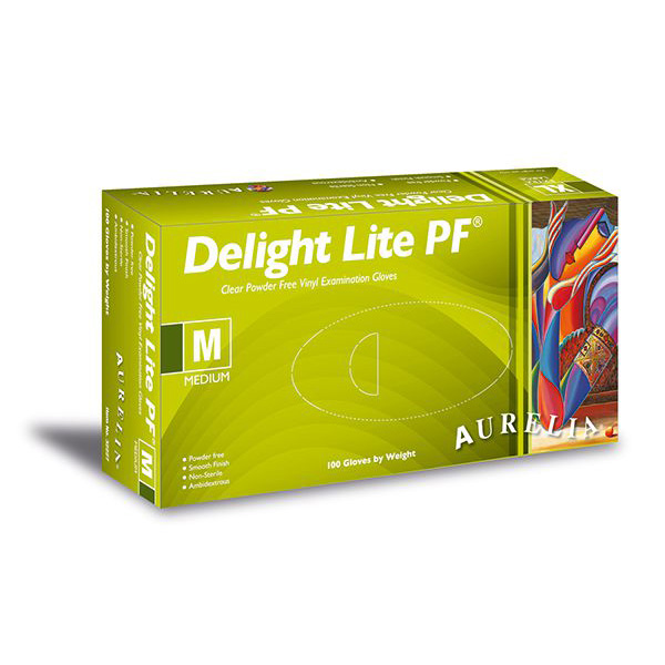 Aurelia Delight Lite Clear Powder Free Vinyl Gloves