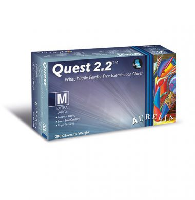 White Nitrile Powder Free Gloves – Aurelia Quest 2.2 (Case of 10 x 200)