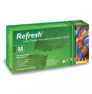 Polymer Coated, Honeycomb Textured 6.0g Peppermint scented Powder-Free Latex Gloves – Aurelia Refresh (Case of 10 x 100)