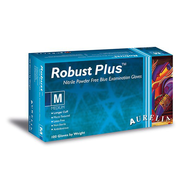 Aurelia Robust Plus Long Length Blue Nitrile Powder Free Gloves