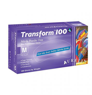 Ice Blue Nitrile Powder Free Gloves – Aurelia Transform 100 (Case of 20 x 100)
