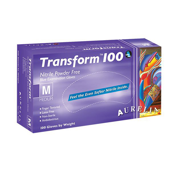 Aurelia Transform 100 Ice Blue Nitrile Powder Free Gloves