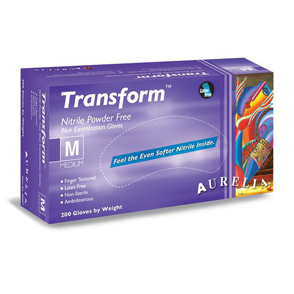 Aurelia Transform Ice Blue Nitrile Powder Free Gloves