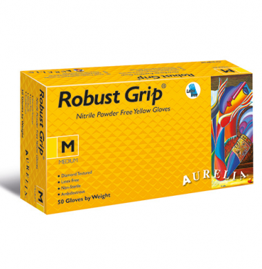Yellow Nitrile Powder Free Gloves – Aurelia Robust Grip (Box of 50)