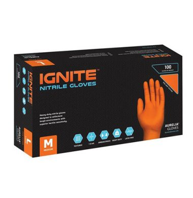 Orange Nitrile Powder Free Gloves – Aurelia Ignite 10 x 90 Extra Large and Extra Extra Large